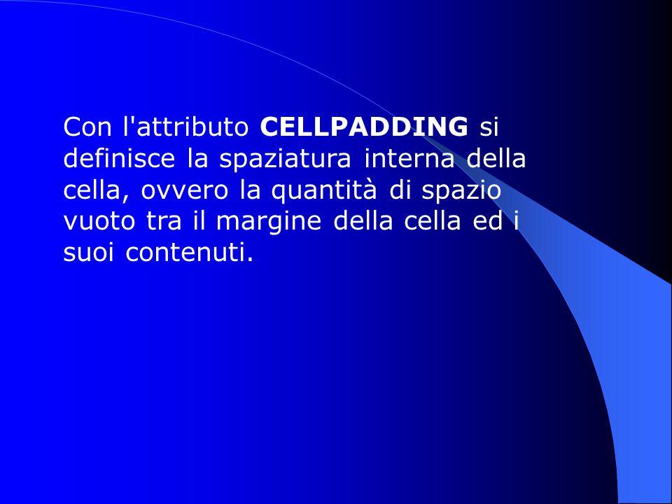 Con l attributo CELLPADDING si definisce la spaziatura interna della cella, ovvero la quantità di spazio vuoto tra il margine della cella ed i suoi contenuti.