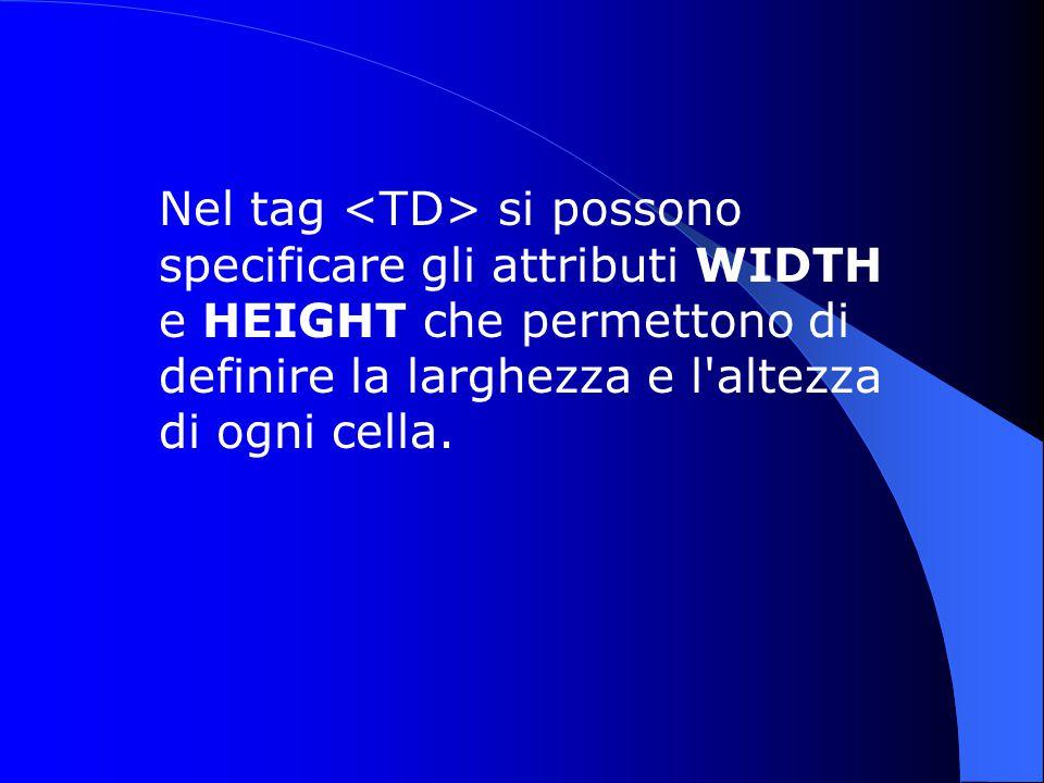 Nel tag si possono specificare gli attributi WIDTH e HEIGHT che permettono di definire la larghezza e l altezza di ogni cella.