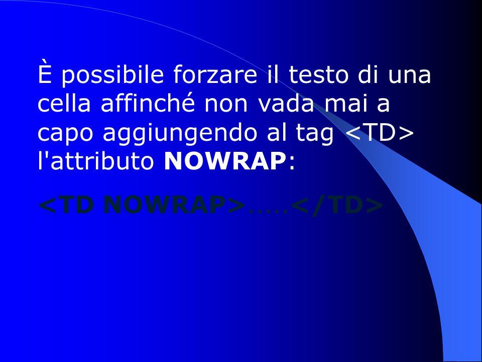 È possibile forzare il testo di una cella affinché non vada mai a capo aggiungendo al tag l attributo NOWRAP:.....