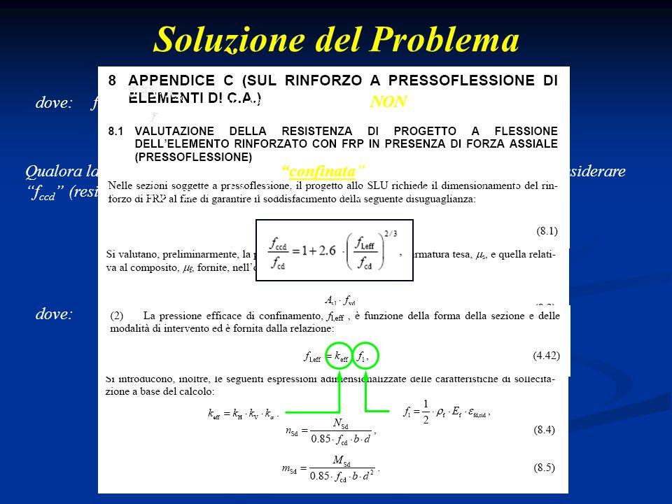 """Soluzione del Problema dove: solo se la membratura NON risulta confinata !!! Qualora la membratura in c.a. risulti """"confinata"""", in luogo di """"f cd """" bi"""