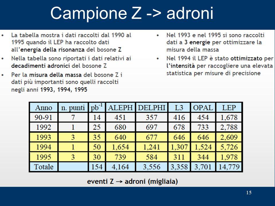 Campione Z -> adroni 15