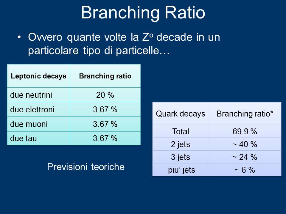 Branching Ratio Ovvero quante volte la Z o decade in un particolare tipo di particelle… Previsioni teoriche