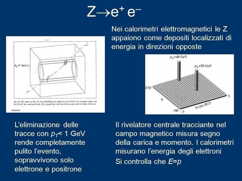 Z  e + e – L'eliminazione delle tracce con p T < 1 GeV rende completamente pulito l'evento, sopravvivono solo elettrone e positrone Il rivelatore centrale tracciante nel campo magnetico misura segno della carica e momento.