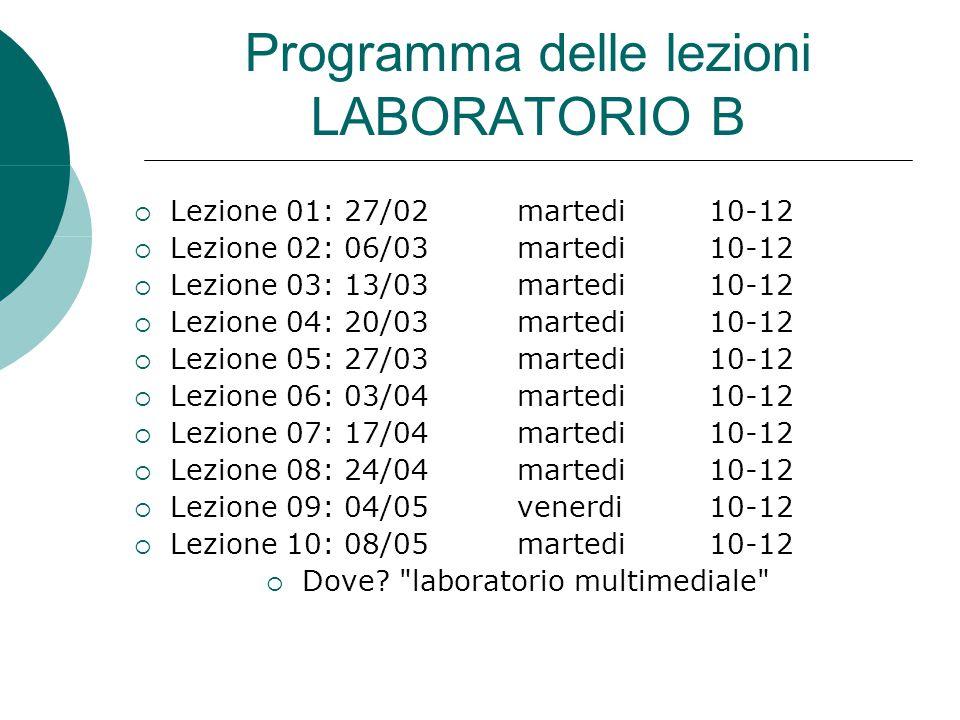 Programma delle lezioni LABORATORIO B 1.Presentazione e introduzione HTML 2.