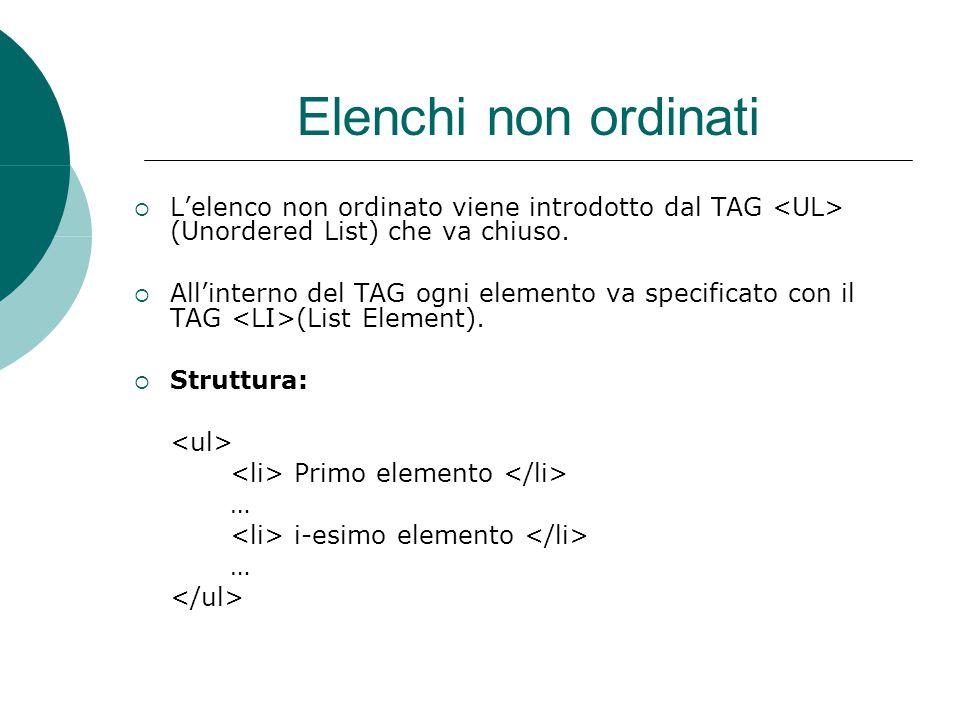 Elenchi ordinati  L'elenco ordinato viene introdotto dal TAG (Ordered List) che va chiuso.