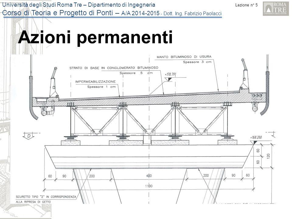 Lezione n° 5 Università degli Studi Roma Tre – Dipartimento di Ingegneria Corso di Teoria e Progetto di Ponti – A/A 2014-2015 - Dott. Ing. Fabrizio Pa