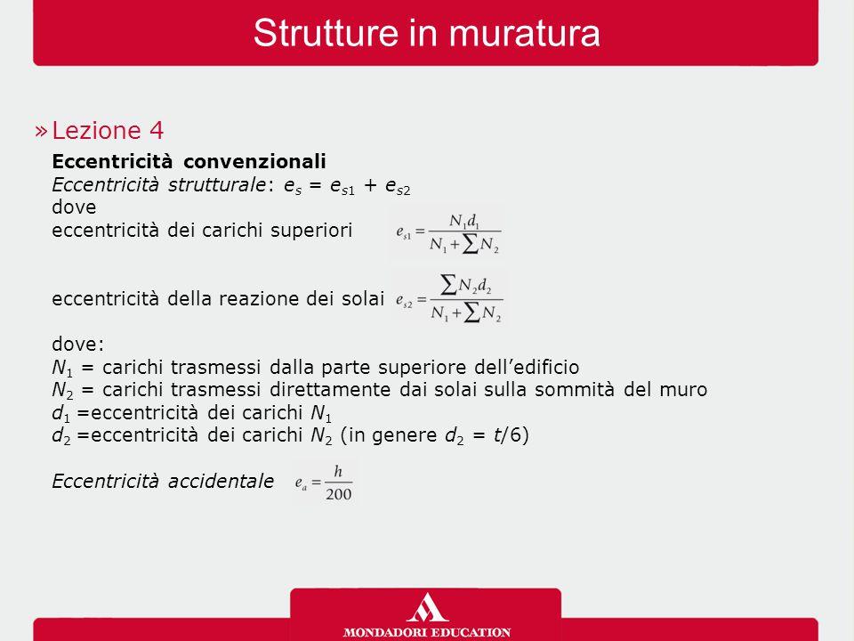 Strutture in muratura »Lezione 4 Eccentricità convenzionali Eccentricità strutturale: e s = e s1 + e s2 dove eccentricità dei carichi superiori eccent