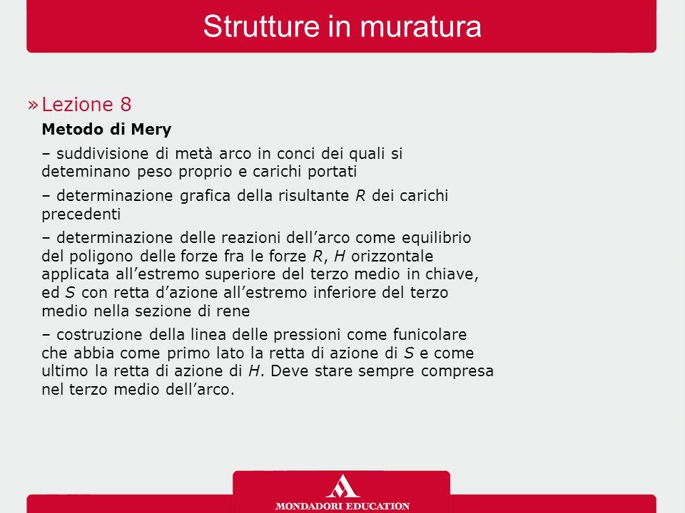 Strutture in muratura »Lezione 8 Metodo di Mery – suddivisione di metà arco in conci dei quali si deteminano peso proprio e carichi portati – determin