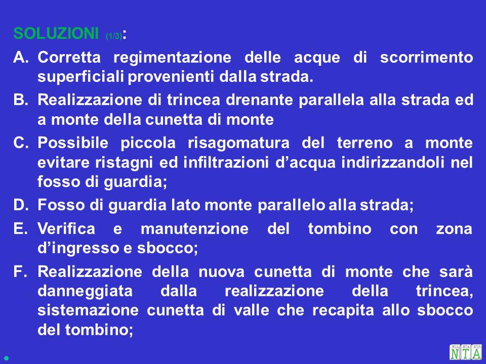 SOLUZIONI (1/3) : A.Corretta regimentazione delle acque di scorrimento superficiali provenienti dalla strada.