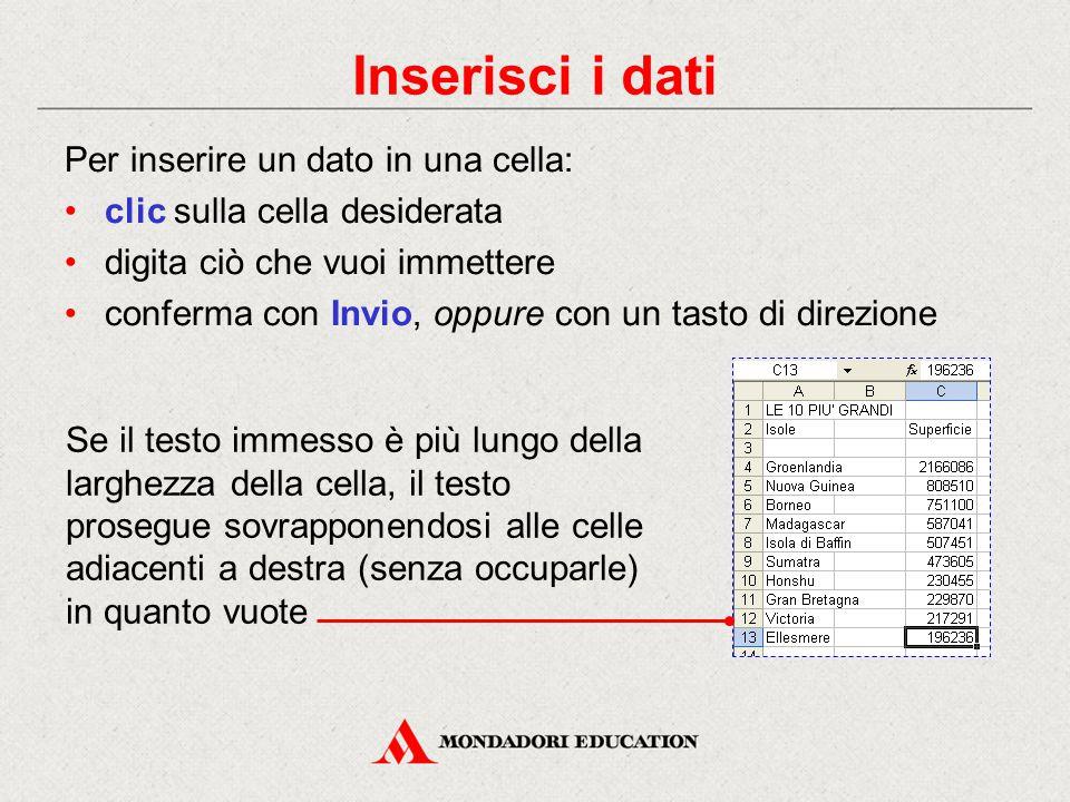 Inserisci i dati Per inserire un dato in una cella: clic sulla cella desiderata digita ciò che vuoi immettere conferma con Invio, oppure con un tasto