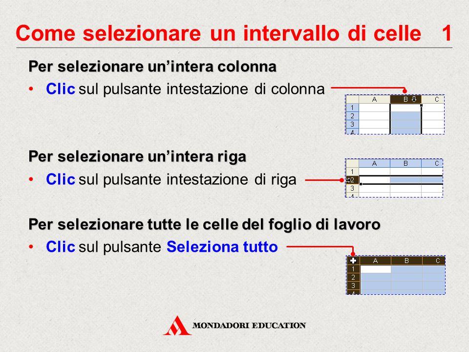 Come selezionare un intervallo di celle 2 Per selezionare un intervallo di celle adiacenti Punta sulla prima cella e trascina il mouse fino all'ultima, oppure Clic sulla prima cella e, tenendo premuto Maiusc, clic sull'ultima L'intervallo selezionato si indica con A1:B2 Per selezionare un intervallo di celle non adiacenti Seleziona la prima cella o il primo intervallo di celle Tenendo premuto Ctrl, seleziona altre celle o intervalli di celle Gli intervalli selezionati si indicano con A1:B2;C4:D5