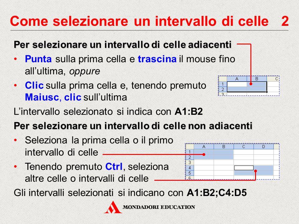 Come selezionare un intervallo di celle 2 Per selezionare un intervallo di celle adiacenti Punta sulla prima cella e trascina il mouse fino all'ultima