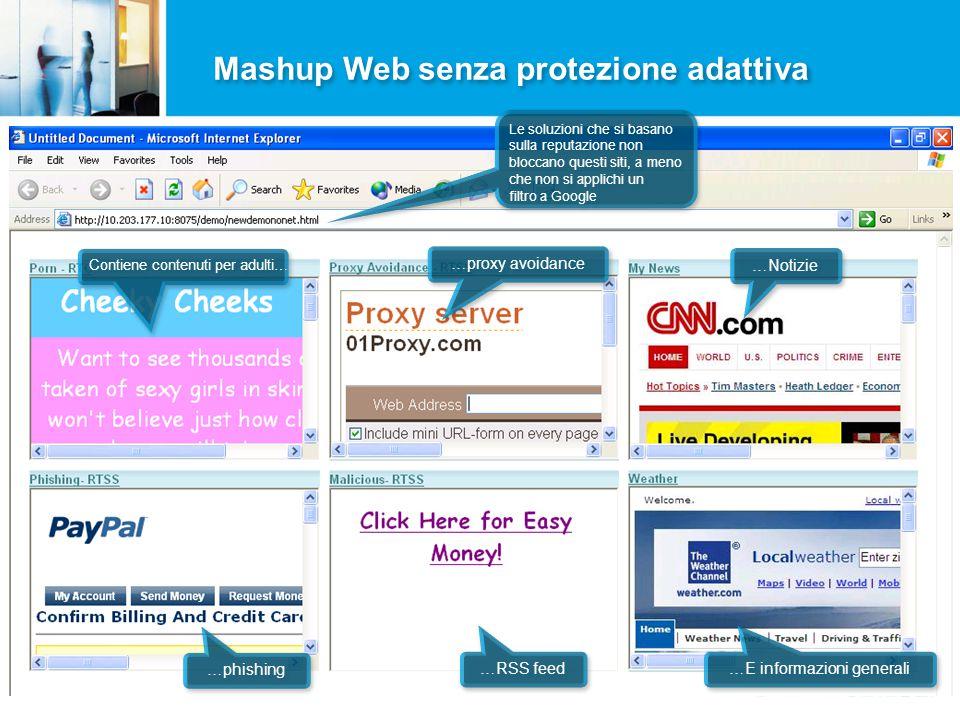 Mashup Web senza protezione adattiva Contiene contenuti per adulti… …proxy avoidance …Notizie …phishing …RSS feed …E informazioni generali Le soluzioni che si basano sulla reputazione non bloccano questi siti, a meno che non si applichi un filtro a Google Le soluzioni che si basano sulla reputazione non bloccano questi siti, a meno che non si applichi un filtro a Google
