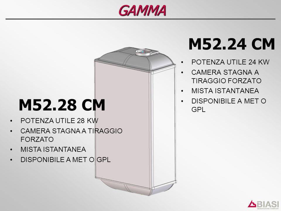 GAMMA M52.24 CM POTENZA UTILE 24 KW CAMERA STAGNA A TIRAGGIO FORZATO MISTA ISTANTANEA DISPONIBILE A MET O GPL M52.28 CM POTENZA UTILE 28 KW CAMERA STA