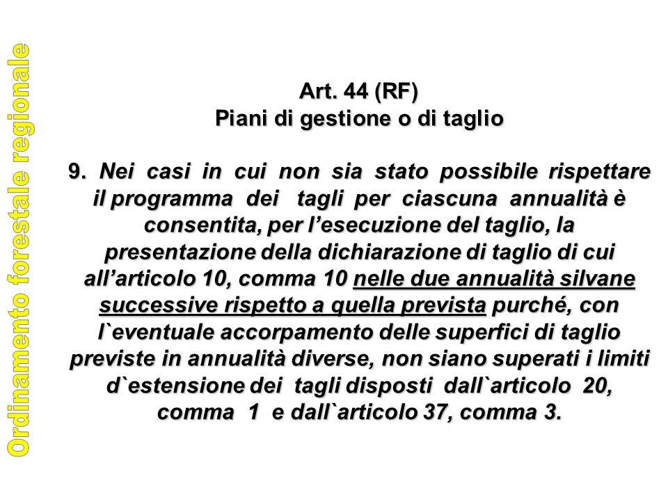 Art. 44 (RF) Piani di gestione o di taglio 9.