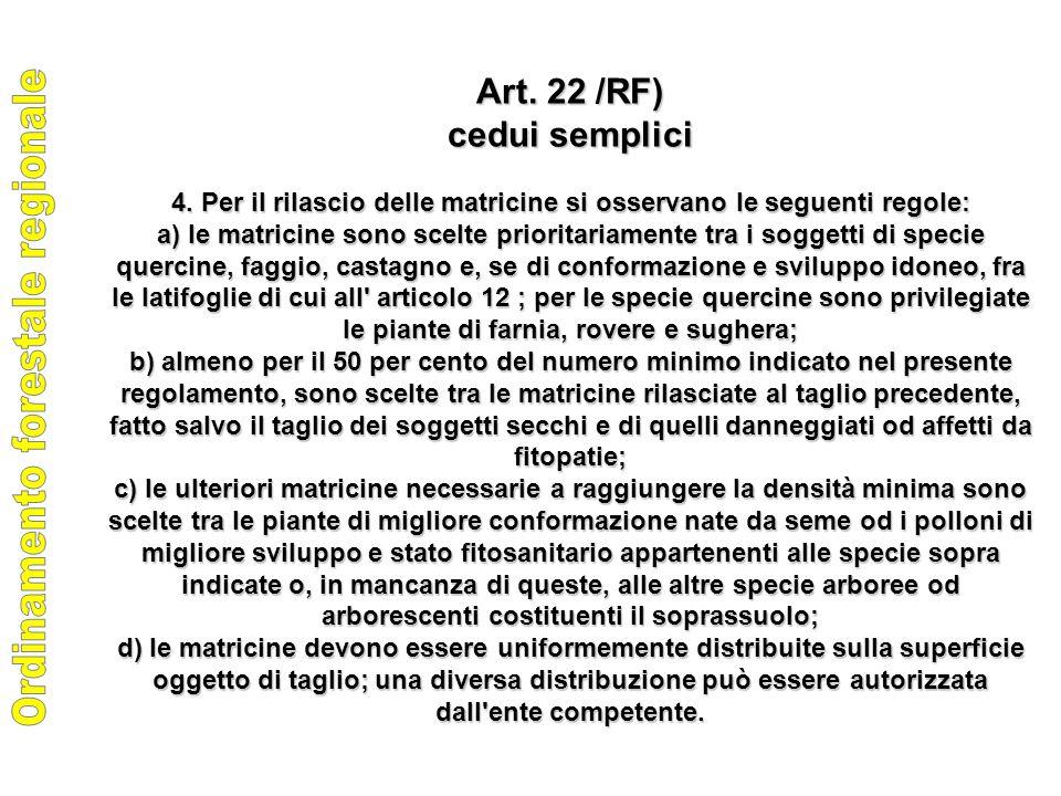Art. 22 /RF) cedui semplici 4.