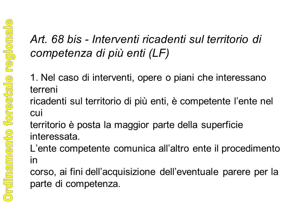 Art. 68 bis - Interventi ricadenti sul territorio di competenza di più enti (LF) 1.