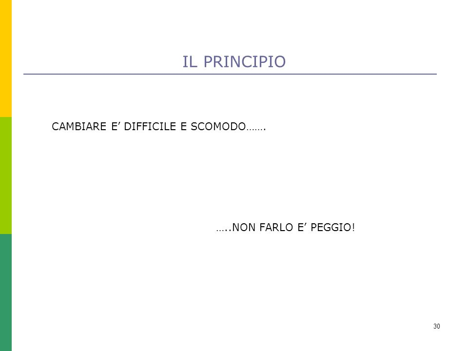 30 IL PRINCIPIO …..NON FARLO E' PEGGIO! CAMBIARE E' DIFFICILE E SCOMODO…….