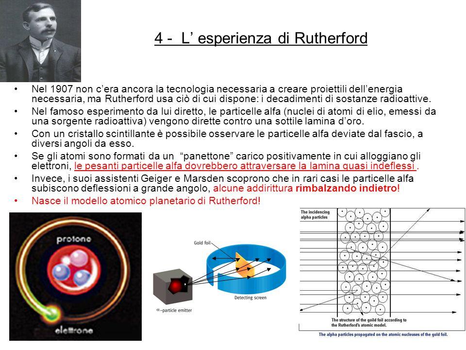 4 - L' esperienza di Rutherford Nel 1907 non c'era ancora la tecnologia necessaria a creare proiettili dell'energia necessaria, ma Rutherford usa ciò