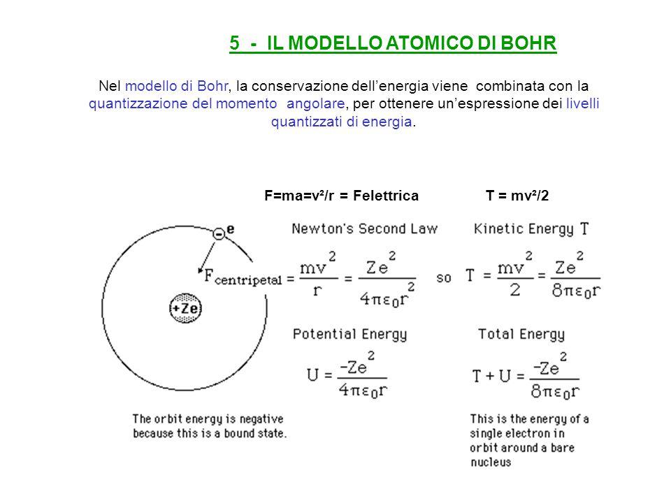 Nel modello di Bohr, la conservazione dell'energia viene combinata con la quantizzazione del momento angolare, per ottenere un'espressione dei livelli