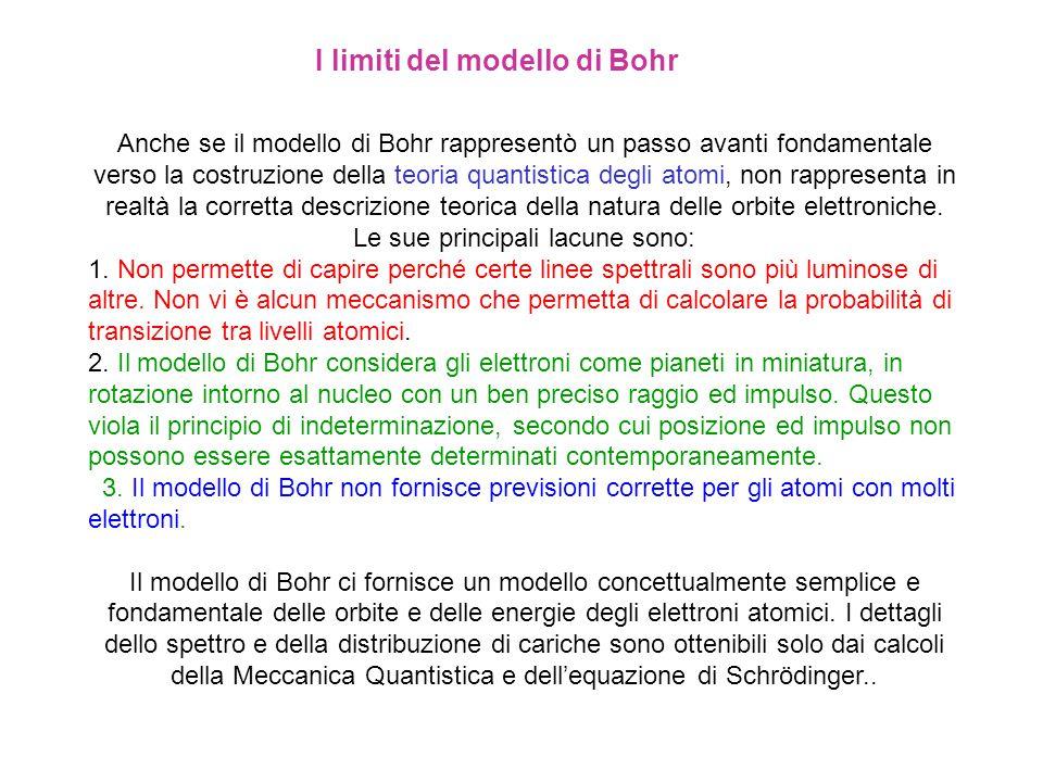 Anche se il modello di Bohr rappresentò un passo avanti fondamentale verso la costruzione della teoria quantistica degli atomi, non rappresenta in rea