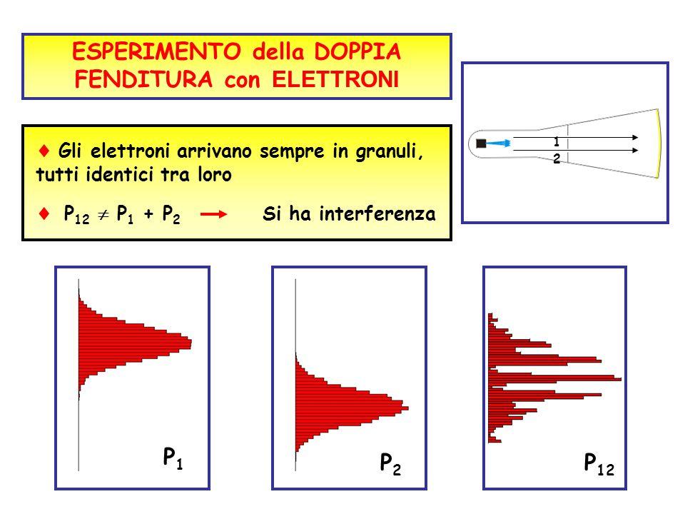  Gli elettroni arrivano sempre in granuli, tutti identici tra loro P1P1 P2P2  P 12  P 1 + P 2 Si ha interferenza P 12 ESPERIMENTO della DOPPIA FEND