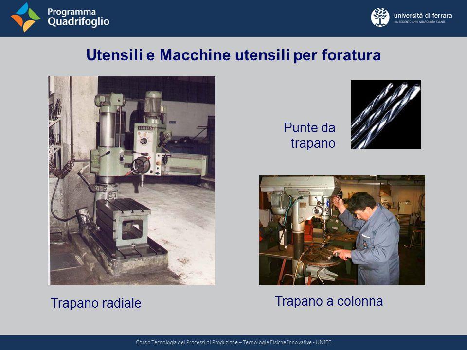 Utensili e Macchine utensili per foratura Trapano radiale Trapano a colonna Punte da trapano Corso Tecnologia dei Processi di Produzione – Tecnologie