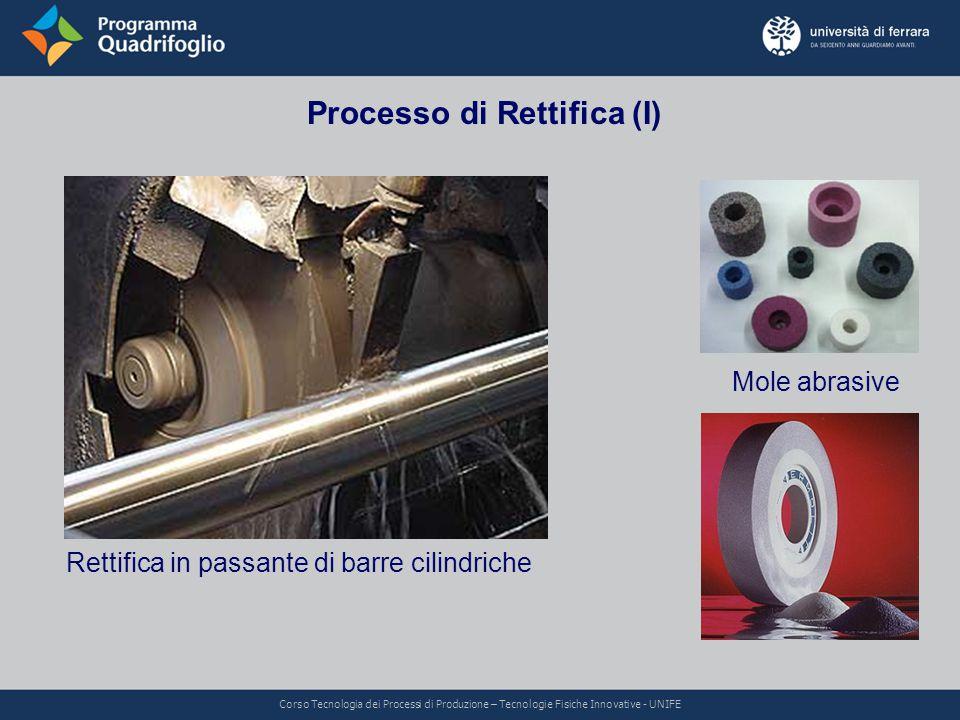 Processo di Rettifica (I) Rettifica in passante di barre cilindriche Mole abrasive Corso Tecnologia dei Processi di Produzione – Tecnologie Fisiche In