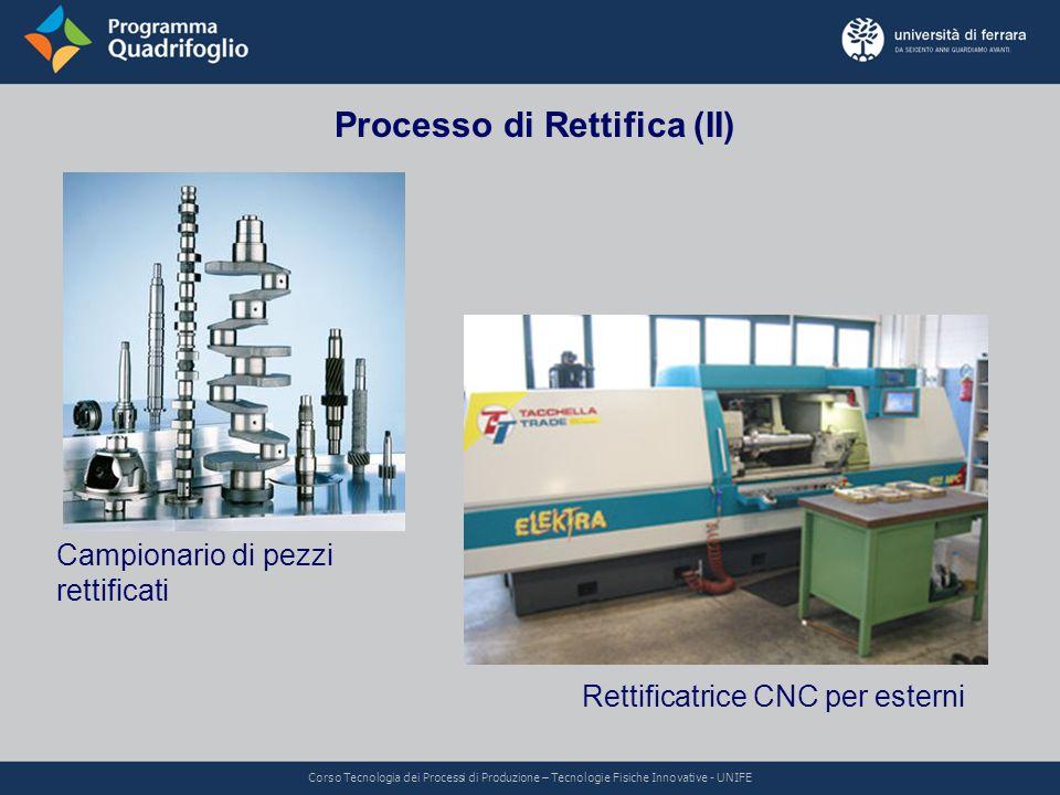 Processo di Rettifica (II) Rettificatrice CNC per esterni Campionario di pezzi rettificati Corso Tecnologia dei Processi di Produzione – Tecnologie Fi