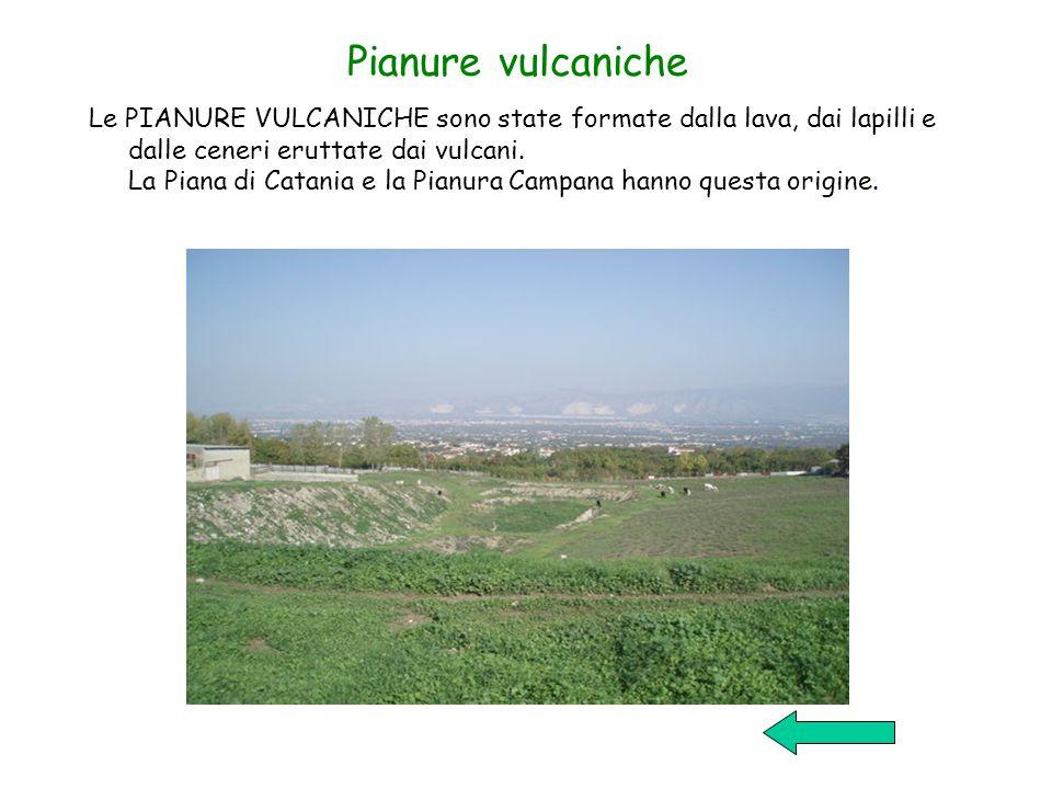 Pianure vulcaniche Le PIANURE VULCANICHE sono state formate dalla lava, dai lapilli e dalle ceneri eruttate dai vulcani.