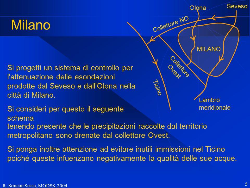 R. Soncini Sessa, MODSS, 2004 5 Milano Ticino Collettore NO Collettore Ovest Olona Seveso MILANO Lambro meridionale Si progetti un sistema di controll