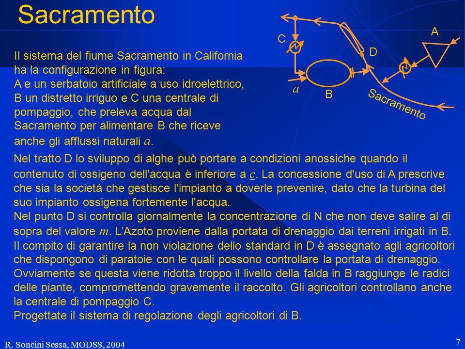 R. Soncini Sessa, MODSS, 2004 7 Sacramento Nel tratto D lo sviluppo di alghe può portare a condizioni anossiche quando il contenuto di ossigeno dell'a