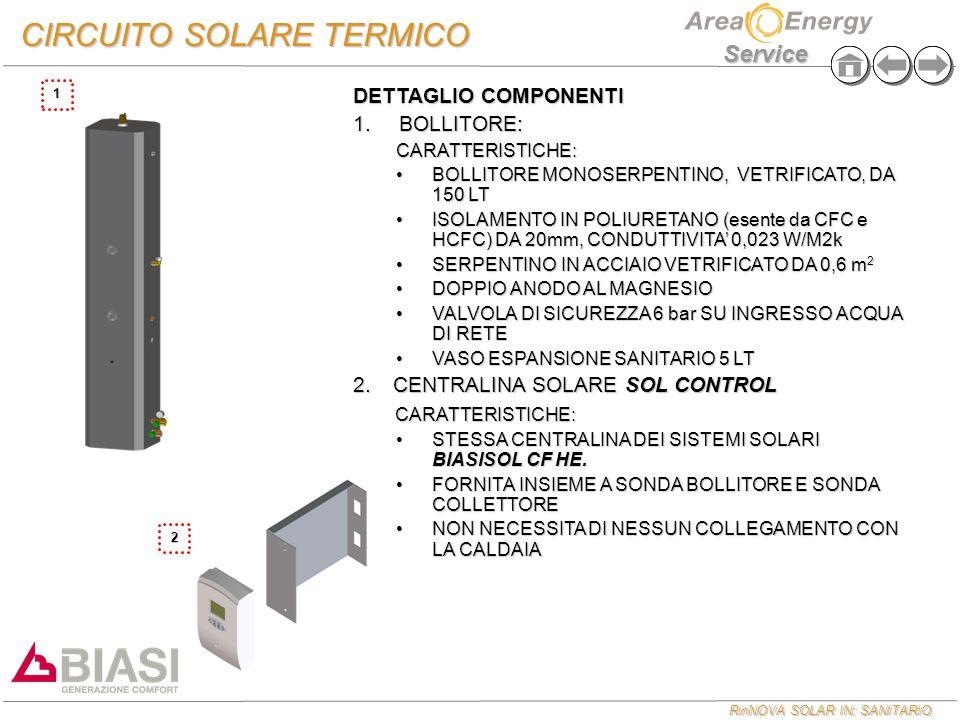 RinNOVA SOLAR IN: SANITARIO Service 1 CIRCUITO SOLARE TERMICO DETTAGLIO COMPONENTI 1. BOLLITORE: CARATTERISTICHE: BOLLITORE MONOSERPENTINO, VETRIFICAT