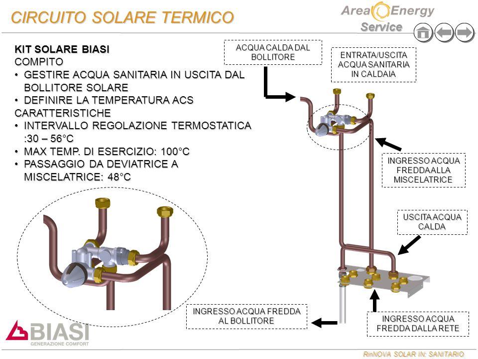 RinNOVA SOLAR IN: SANITARIO Service CIRCUITO SOLARE TERMICO KIT SOLARE BIASI SE L'ACQUA DAL BOLLITORE E' MAGGIORE DI 48°C QUESTA VIENE MANDATA DIRETTAMENTE ALL'USCITA ACS DOVE VIENE MISCELATA CON L'ACQUA FREDDA DELLA RETE DI ALIMENTAZIONESE L'ACQUA DAL BOLLITORE E' MAGGIORE DI 48°C QUESTA VIENE MANDATA DIRETTAMENTE ALL'USCITA ACS DOVE VIENE MISCELATA CON L'ACQUA FREDDA DELLA RETE DI ALIMENTAZIONE KIT SOLARE BIASI SE L'ACQUA DAL BOLLITORE E' INFERIORE AI 48°C QUESTA VIENE MANDATA ALL'INGRESSO ACQUA FREDDA DELLA CALDAIA DOVE VIENE PORTATA ALLA TEMPERATURA IMPOSTATA IN CALDAIASE L'ACQUA DAL BOLLITORE E' INFERIORE AI 48°C QUESTA VIENE MANDATA ALL'INGRESSO ACQUA FREDDA DELLA CALDAIA DOVE VIENE PORTATA ALLA TEMPERATURA IMPOSTATA IN CALDAIA PER QUESTA EVENTUALITA' SI CONSIGLIA DI SETTARE IL SET SANITARIO DELLA CALDAIA ALLA STESSA TEMPERATURA DELLA MISCELARICEPER QUESTA EVENTUALITA' SI CONSIGLIA DI SETTARE IL SET SANITARIO DELLA CALDAIA ALLA STESSA TEMPERATURA DELLA MISCELARICE