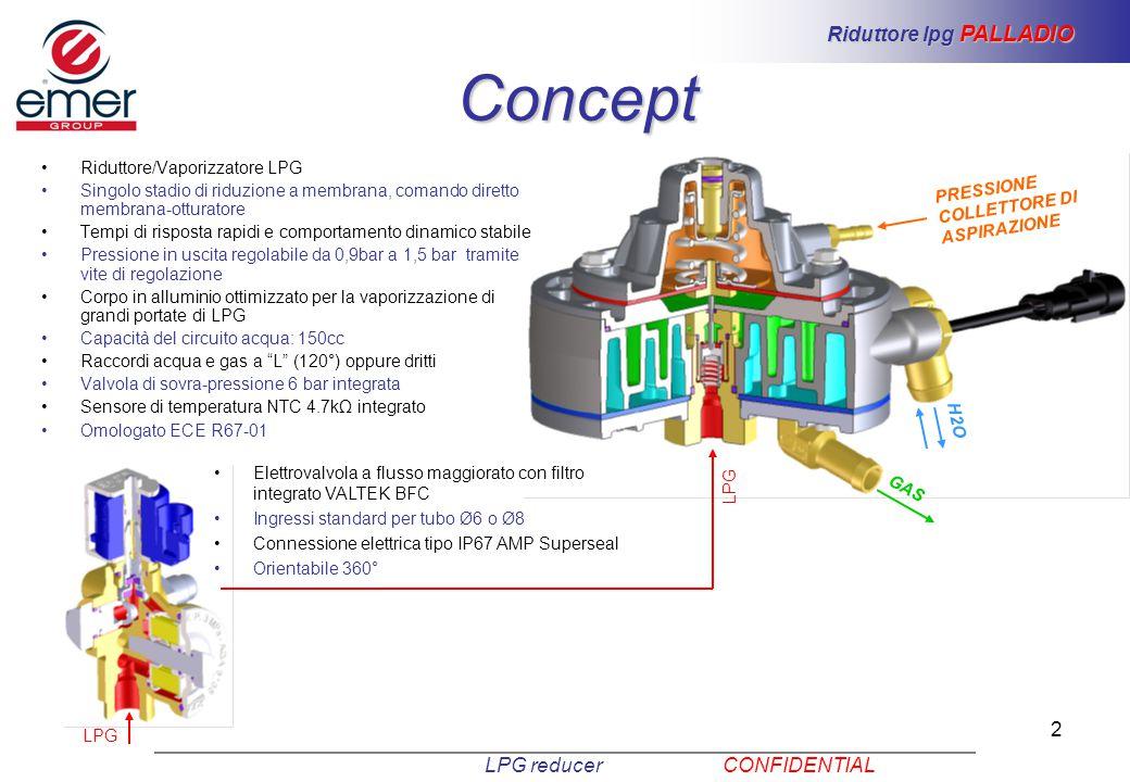 2 Riduttore/Vaporizzatore LPG Singolo stadio di riduzione a membrana, comando diretto membrana-otturatore Tempi di risposta rapidi e comportamento din