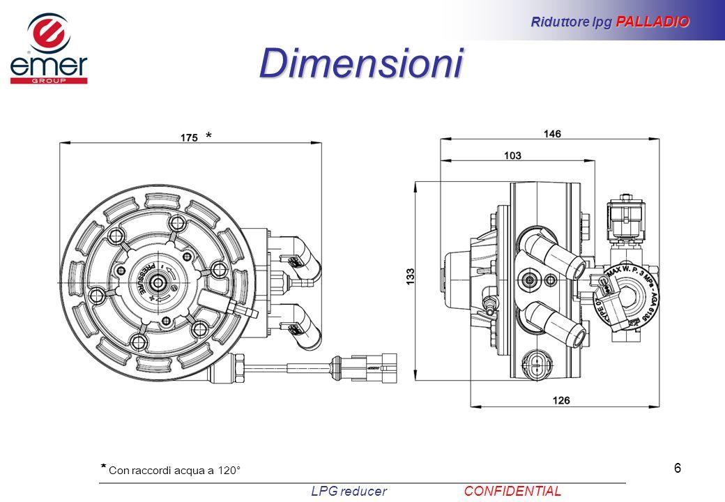 6 Dimensioni LPG reducer CONFIDENTIAL Riduttore lpg PALLADIO * Con raccordi acqua a 120° *