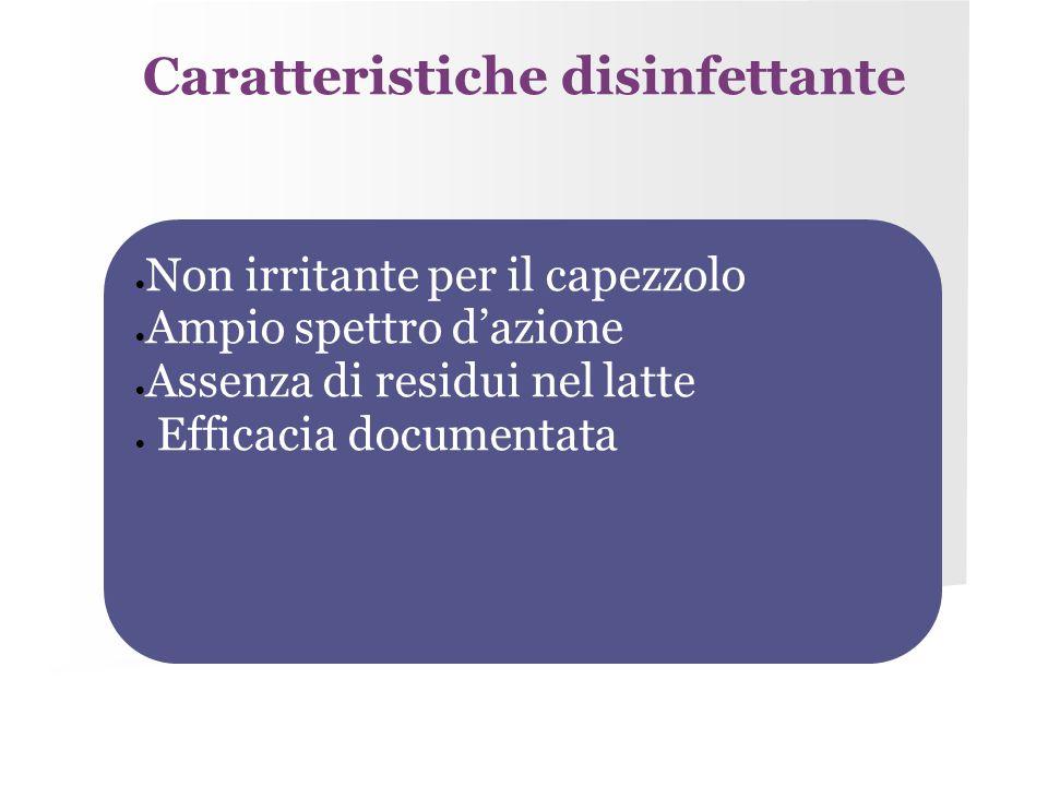 Caratteristiche disinfettante  Non irritante per il capezzolo  Ampio spettro d'azione  Assenza di residui nel latte  Efficacia documentata