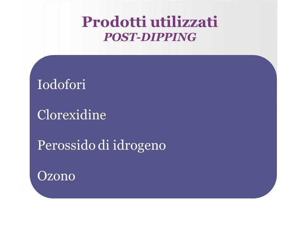 Prodotti utilizzati POST-DIPPING Iodofori Clorexidine Perossido di idrogeno Ozono