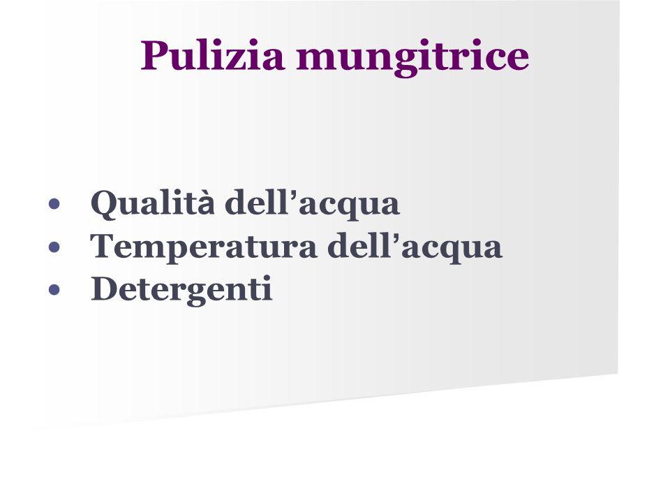 Pulizia mungitrice Qualit à dell ' acqua Temperatura dell ' acqua Detergenti