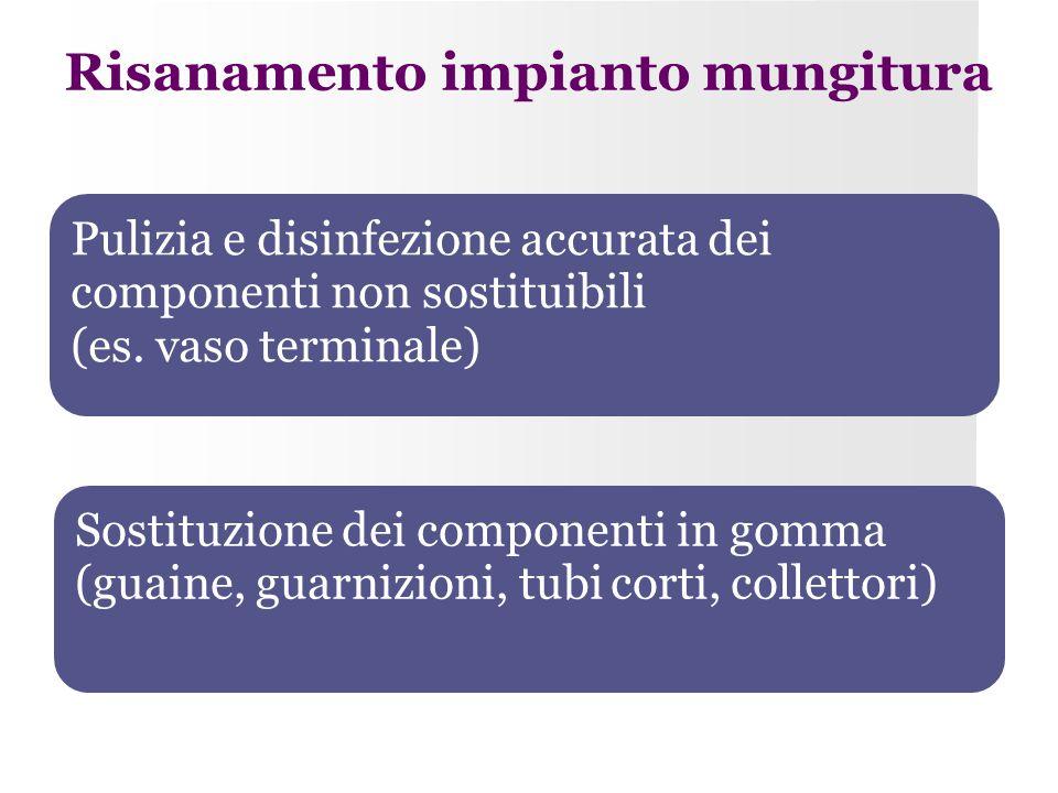 Risanamento impianto mungitura Pulizia e disinfezione accurata dei componenti non sostituibili (es. vaso terminale) Sostituzione dei componenti in gom