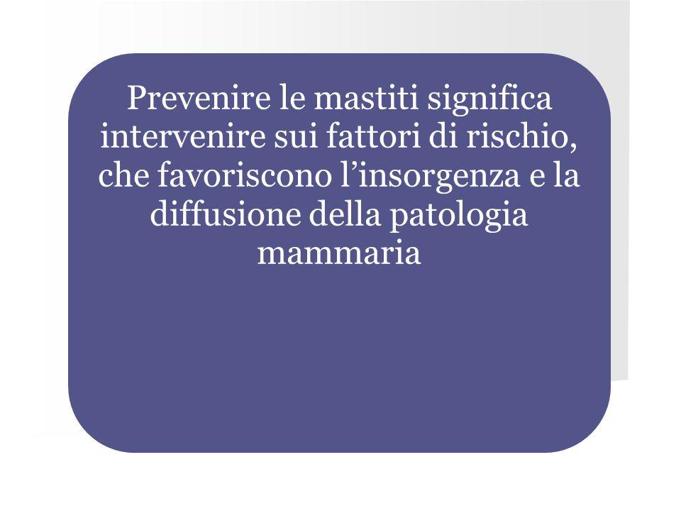 Prevenire le mastiti significa intervenire sui fattori di rischio, che favoriscono l'insorgenza e la diffusione della patologia mammaria