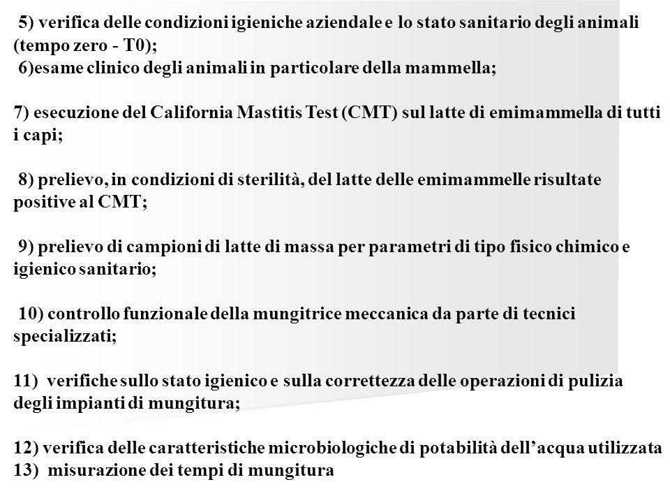 5) verifica delle condizioni igieniche aziendale e lo stato sanitario degli animali (tempo zero - T0); 6)esame clinico degli animali in particolare de
