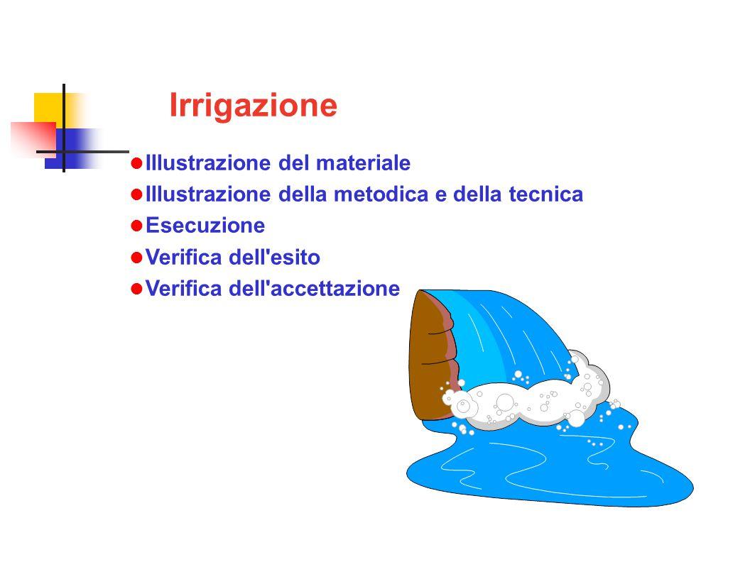 Irrigazione Illustrazione del materiale Illustrazione della metodica e della tecnica Esecuzione Verifica dell esito Verifica dell accettazione