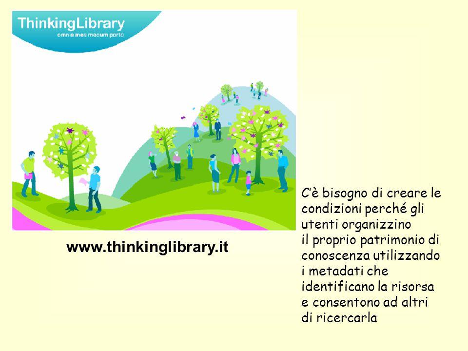 www.thinkinglibrary.it C'è bisogno di creare le condizioni perché gli utenti organizzino il proprio patrimonio di conoscenza utilizzando i metadati che identificano la risorsa e consentono ad altri di ricercarla