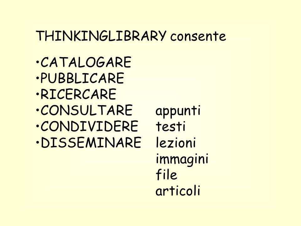 THINKINGLIBRARY consente CATALOGARE PUBBLICARE RICERCARE CONSULTAREappunti CONDIVIDEREtesti DISSEMINARElezioni immagini file articoli