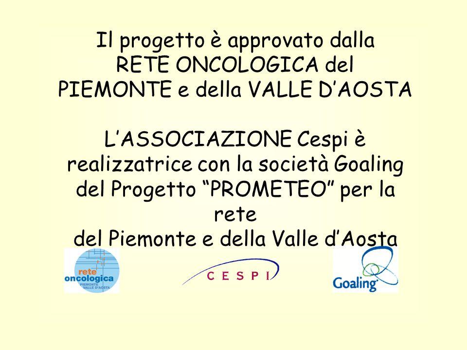 Il progetto è approvato dalla RETE ONCOLOGICA del PIEMONTE e della VALLE D'AOSTA L'ASSOCIAZIONE Cespi è realizzatrice con la società Goaling del Progetto PROMETEO per la rete del Piemonte e della Valle d'Aosta
