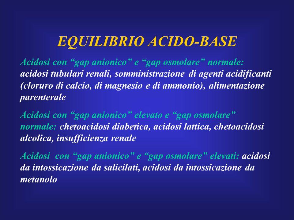 Acidosi respiratoria Alterazione dell'equilibrio acido-base causata da ipoventilazione alveolare dovuta a: -depressione del SNS (farmaci, infezioni, danno cerebrale) -disordini neuromuscolari (miopatie, sindrome di Guillian-Barrè) -malattie polmonari (patologie croniche ostruttive, asma, cifoscoliosi, pneumotorace) Quadro clinico: agitazione, cefalea, sonnolenza, tachicardia, aritmie, scompenso cardiaco.