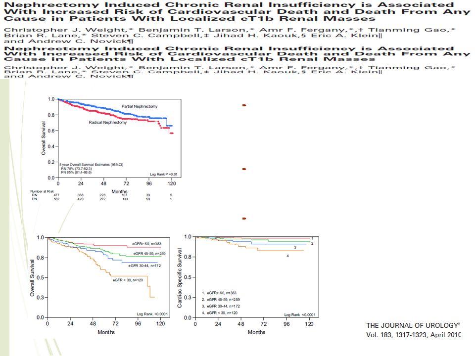  La NP offre un equivalente beneficio alla NR nella cancer specific survival in pazienti con cT1b  La funzionalità renale è meglio preservata nei pa