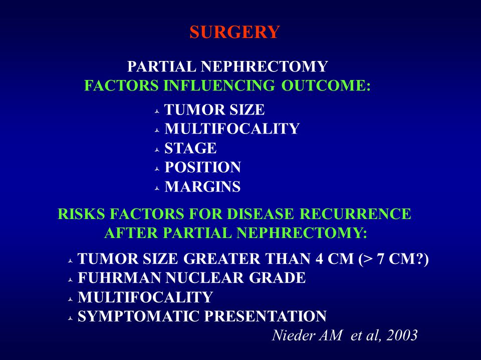 PARTIAL NEPHRECTOMY FACTORS INFLUENCING OUTCOME:  TUMOR SIZE  MULTIFOCALITY  STAGE  POSITION  MARGINS RISKS FACTORS FOR DISEASE RECURRENCE AFTER