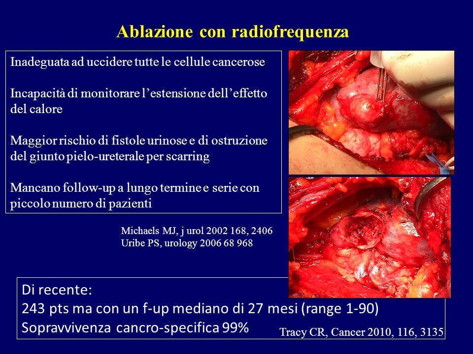 Ablazione con radiofrequenza Inadeguata ad uccidere tutte le cellule cancerose Incapacità di monitorare l'estensione dell'effetto del calore Maggior r